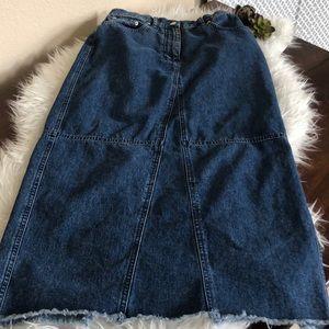"da833adf6 Lauren Jeans Co. Long raw edge 34"" denim skirt"